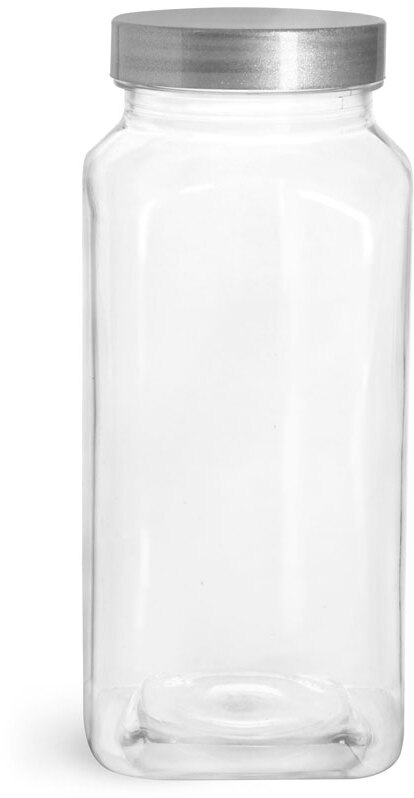 Clear PET Square Bottles w/ Silver Lined Caps