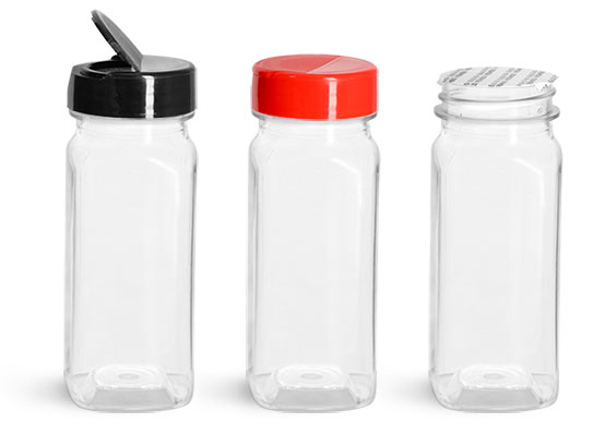 PET Plastic Bottles, Clear Square Bottles w/ Red Polypro Spice Caps