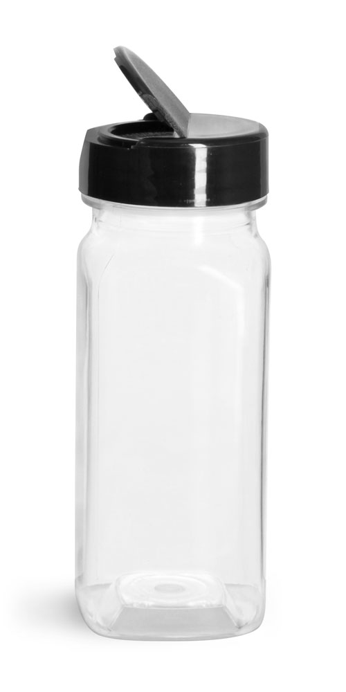 Clear PET Square Bottle w/ Black Lined Spice Cap