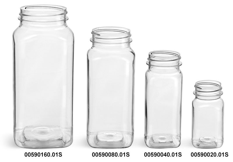 Clear PET Square Bottles (Bulk) Caps NOT Included