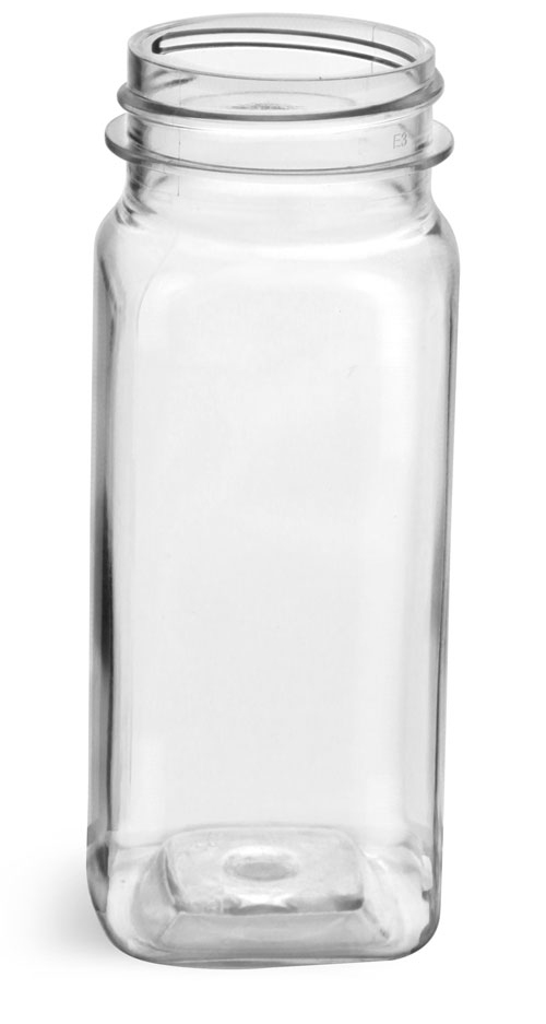 4 oz Clear PET Square Bottles (Bulk), Caps NOT included