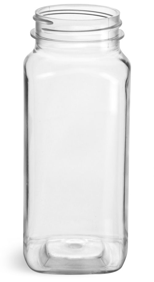 8 oz Clear PET Square Bottles (Bulk), Caps NOT included