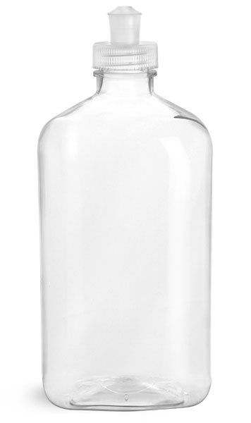 PET Plastic Bottles, Clear Oblong Bottles w/ Natural Push/Pull Caps