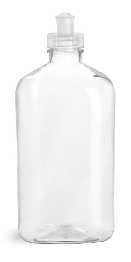 16 oz Clear PET Oblong Bottles w/ Natural Push/Pull Caps