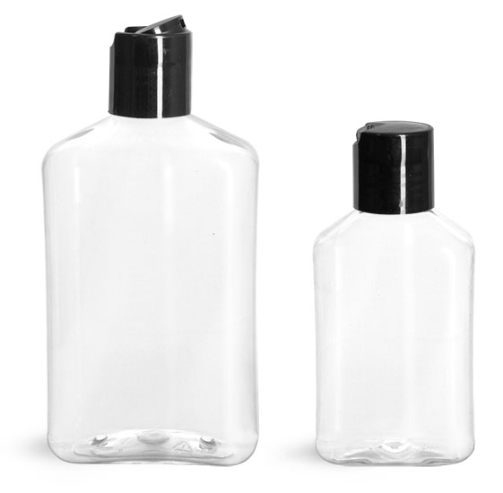 PET Plastic Bottles, Clear Oblong Bottles w/ Black Disc Top Caps