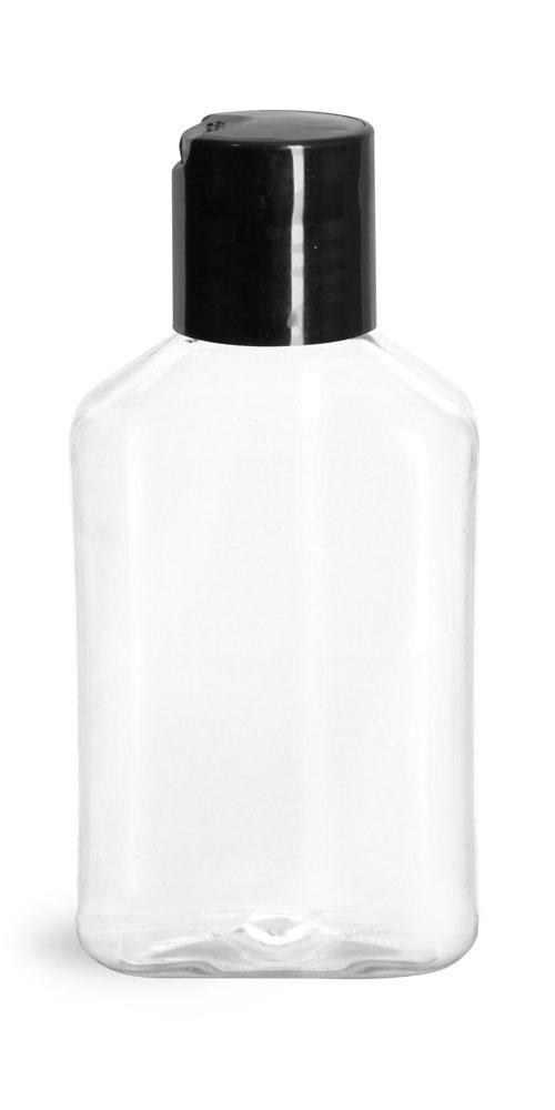 4 oz Clear PET Oblong Bottles w/ Black Disc Top Caps