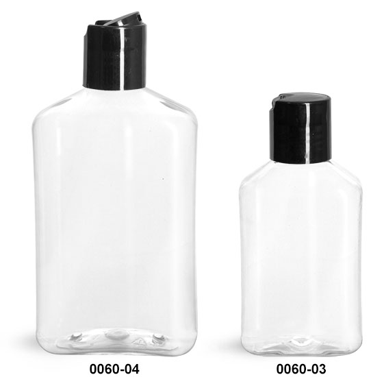 Plastic Bottles, Clear PET Oblong Bottles with Black Disc Top Caps