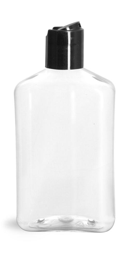 8 oz Clear PET Oblong Bottles w/ Black Disc Top Caps