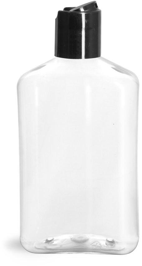 Clear PET Oblong Bottles w/ Black Disc Top Caps