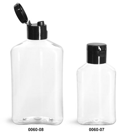 Plastic Bottles, Clear PET Oblong Bottles with Black Smooth Snap Top Caps
