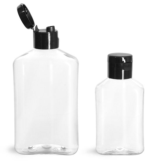 PET Plastic Bottles, Clear Oblong Bottles w/ Black Smooth Snap Top Caps