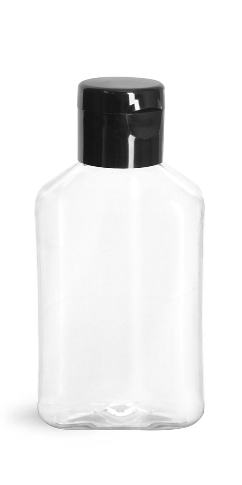 4 oz Clear PET Oblong Bottles w/ Black Smooth Snap Top Caps