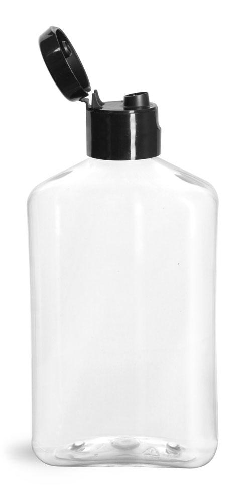 8 oz Clear PET Oblong Bottles w/ Black Smooth Snap Top Caps