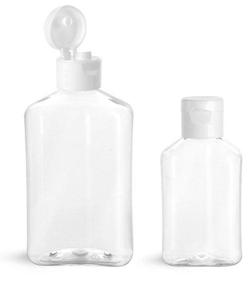 PET Plastic Bottles, Clear Oblong Bottles w/ White Smooth Snap Top Caps