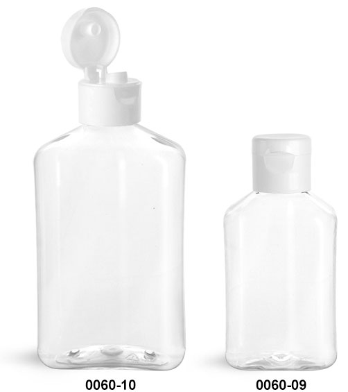 Plastic Bottles, Clear PET Oblong Bottles with White Smooth Snap Top Caps