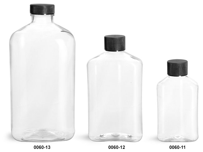 Plastic Bottles, Clear PET Oblong Bottles with Black Ribbed Lined Caps