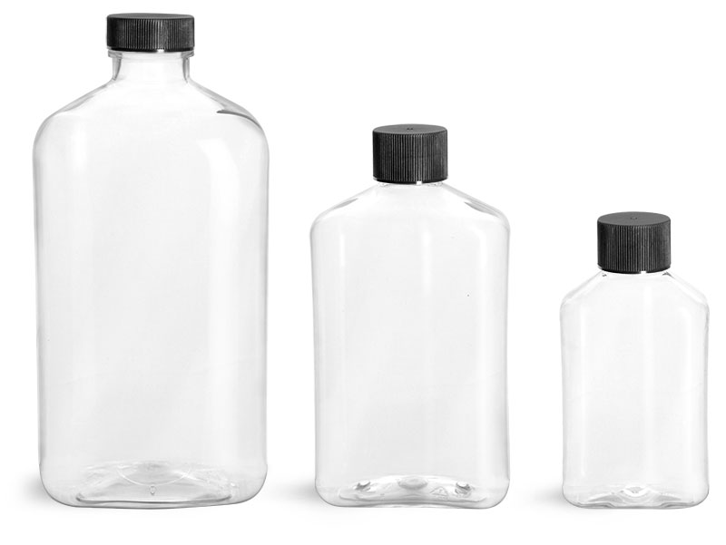 PET Plastic Bottles, Clear Oblong Bottles w/ Black Ribbed Screw Caps