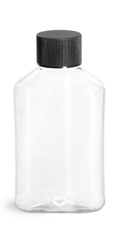 4 oz Clear PET Oblong Bottles w/ Black Ribbed Screw Caps