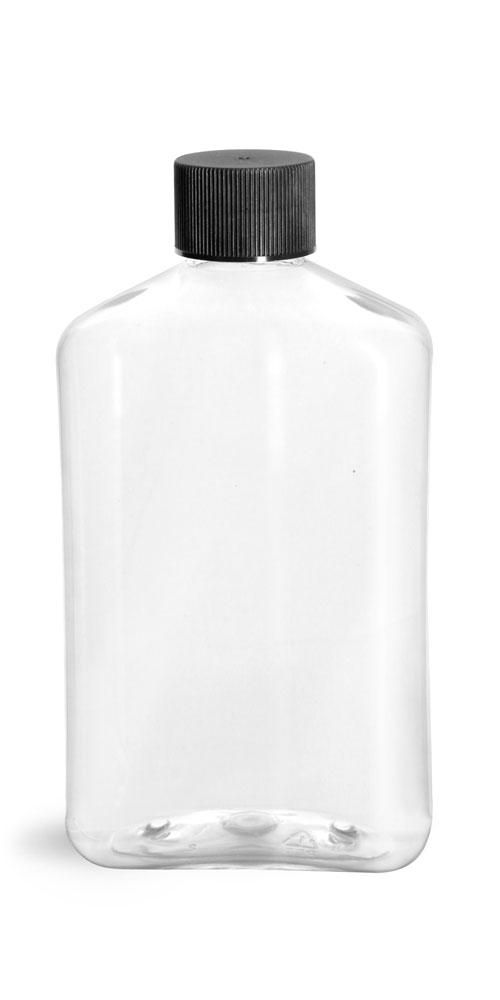 Clear PET Oblong Bottles w/ Black Ribbed Screw Caps