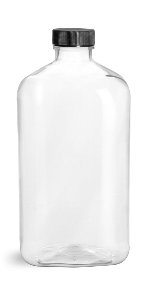 16 oz Clear PET Oblong Bottles w/ Black Ribbed Screw Caps