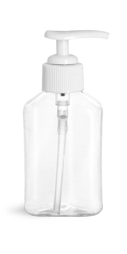 4 oz Clear PET Oblong Bottles with White Lotion Pumps
