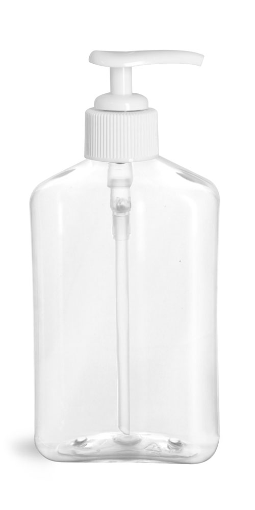 8 oz Clear PET Oblong Bottles with White Lotion Pumps