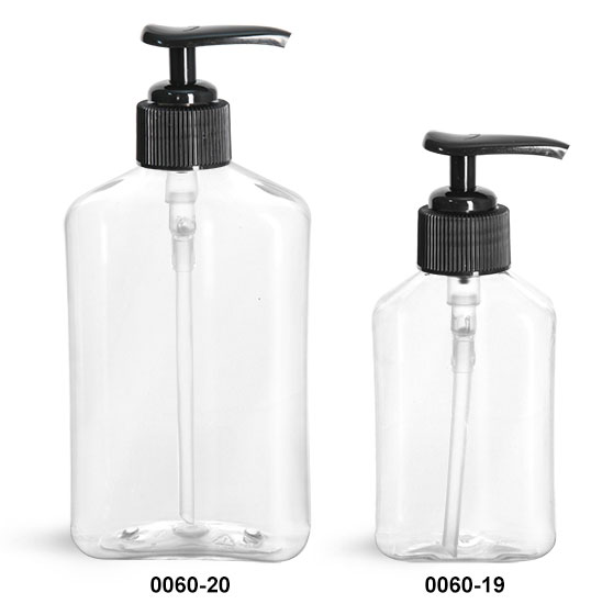Plastic Bottles, Clear PET Oblong Bottles with Black Lotion Pumps
