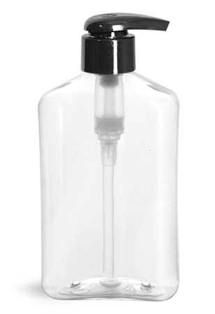 Plastic Bottles, 8 oz Clear PET Oblong Bottles w/ Black 2 cc Lotion Pumps