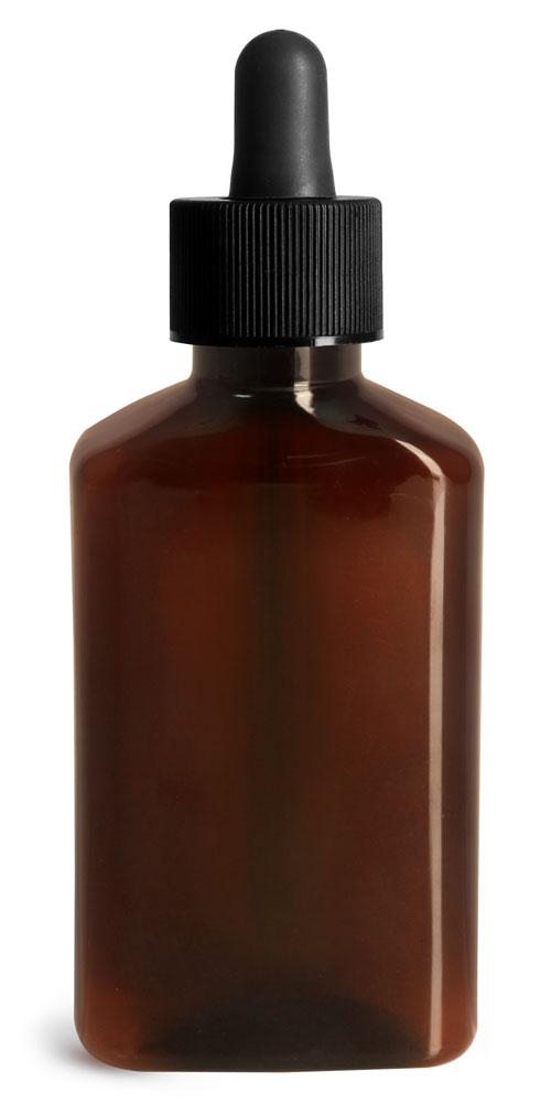 100 ml Plastic Bottles, Amber PET Oblong Bottles w/ Black Bulb Dropper
