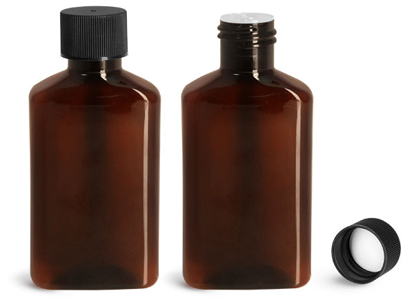 Plastic Bottles, 100 ml Amber PET Oblong Bottles w/ Black Ribbed PE Lined Caps & Orifice Reducers
