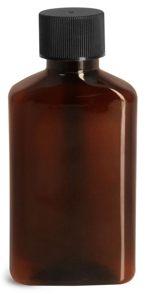 Plastic Bottles, Amber PET Oblong Bottles w/ Black Ribbed Lined Caps and Orifice Reducers