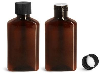 Plastic Bottles, 100 ml Amber PET Oblong Bottles w/ Black Ribbed PE Lined Caps & Orifice Reducers