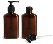 Plastic Bottles, 100 ml Amber PET Oblong Bottles w/ Black Lotion Pumps
