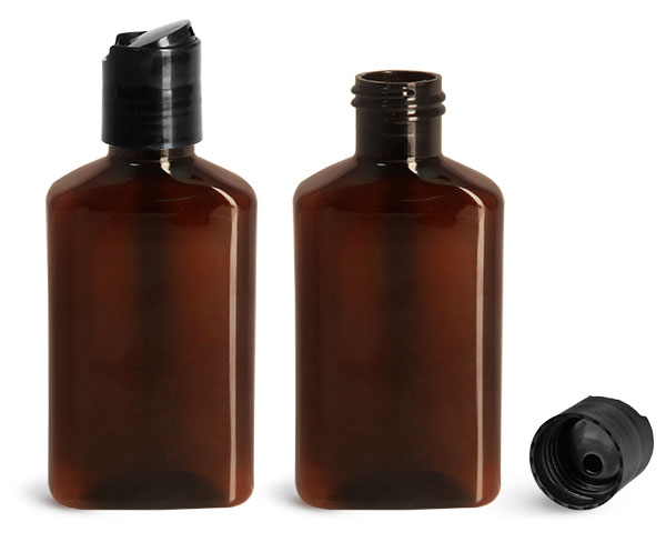 Plastic Bottles, 100 ml Amber PET Oblong Bottles w/ Black Disc Top Caps