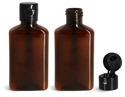 Plastic Bottles, 100 ml Amber PET Oblong Bottles w/ Black Snap Top Caps