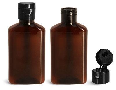 Plastic Bottles, 100 ml Amber PET Oblong Bottles w/ Black Snap Top Caps