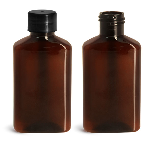 Plastic Bottles, 100 ml Amber PET Oblong Bottles w/ Smooth Black PE Lined Caps