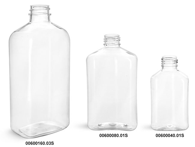 Plastic Bottles, Clear PET Oblong Bottles (Bulk), Caps NOT Included