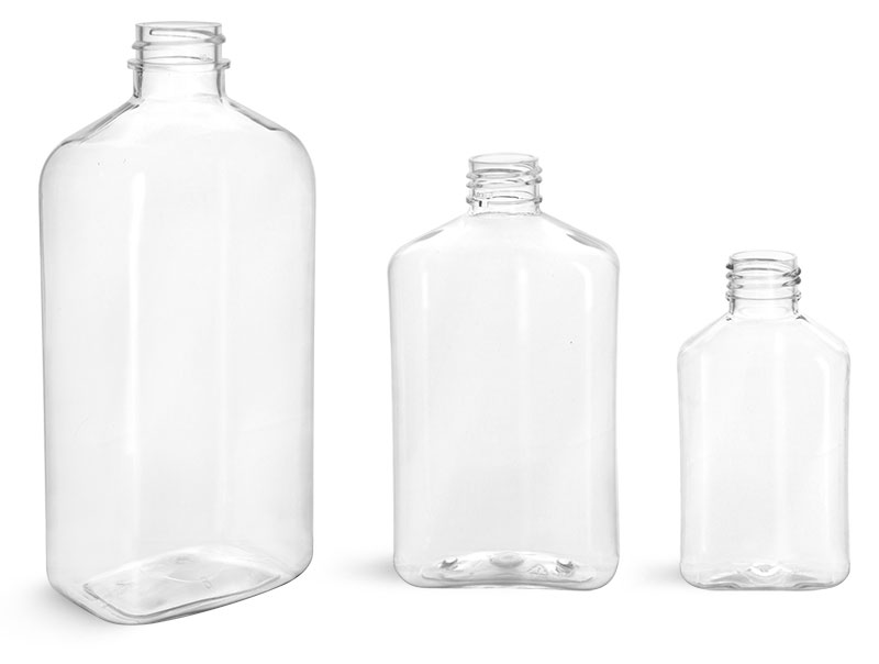 Clear PET Oblong Bottles (Bulk), Caps NOT Included