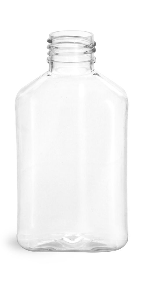4 oz Clear PET Oblong Bottles (Bulk), Caps NOT Included