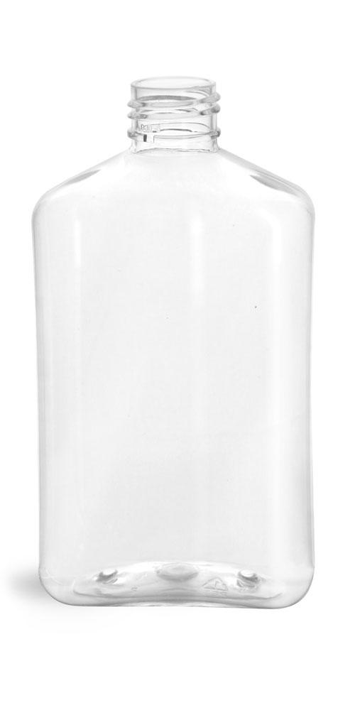 8 oz Clear PET Oblong Bottles (Bulk), Caps NOT Included