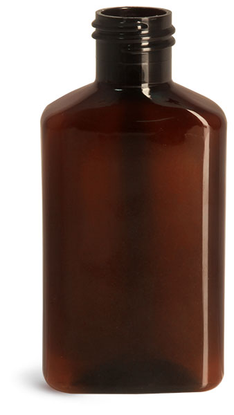 Plastic Bottles, 100 ml Amber PET Oblong Bottles (Bulk), Caps NOT Included