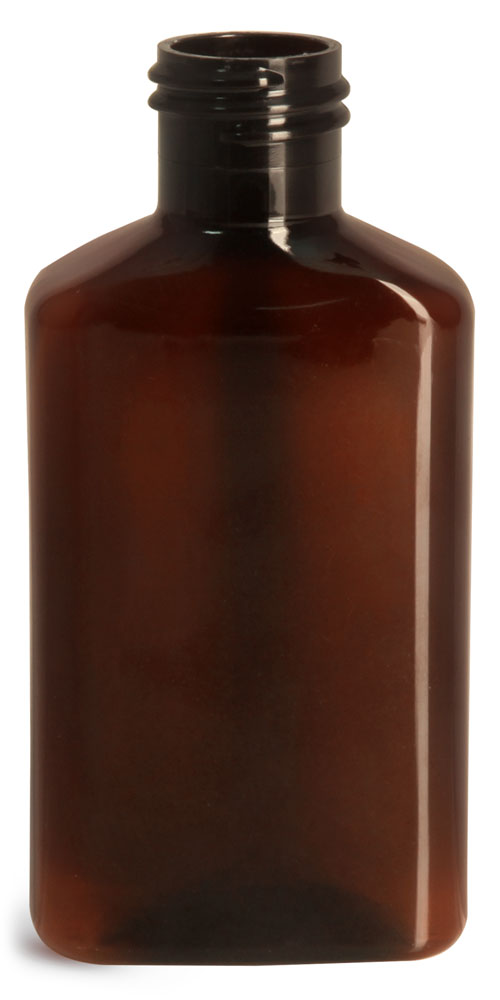 100 ml Amber PET Oblong Bottles (Bulk), Caps NOT Included