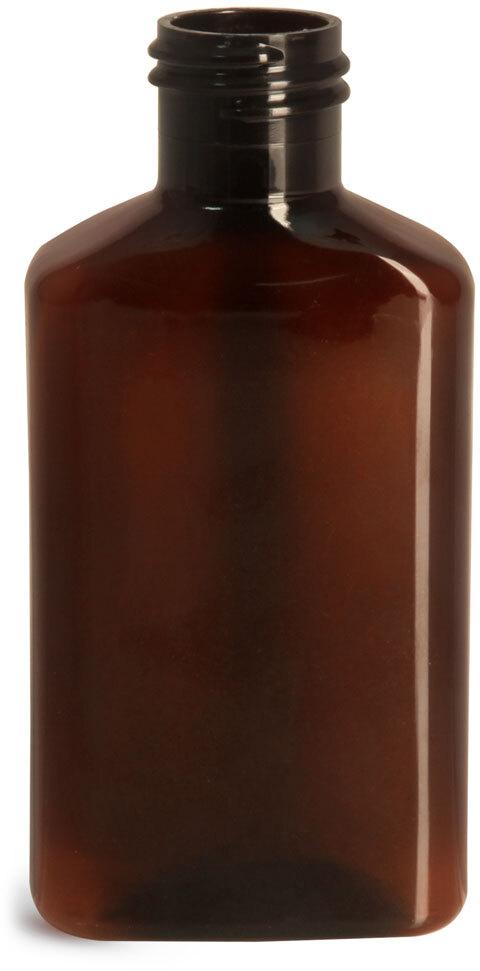 Amber PET Oblong Bottles (Bulk), Caps NOT Included
