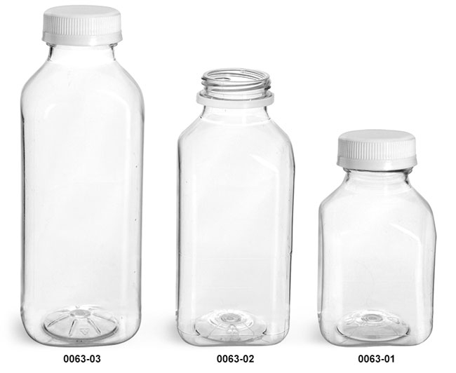 Plastic Bottles, Clear PET Square Beverage Bottles w/ White Tamper Evident Caps