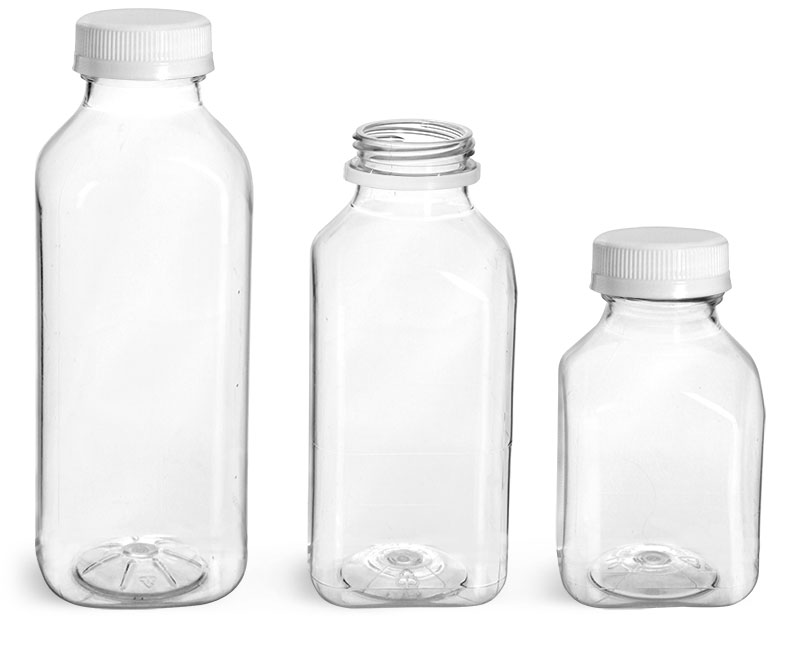 PET Plastic Bottles, Clear Square Beverage Bottles w/ White Tamper Evident Caps