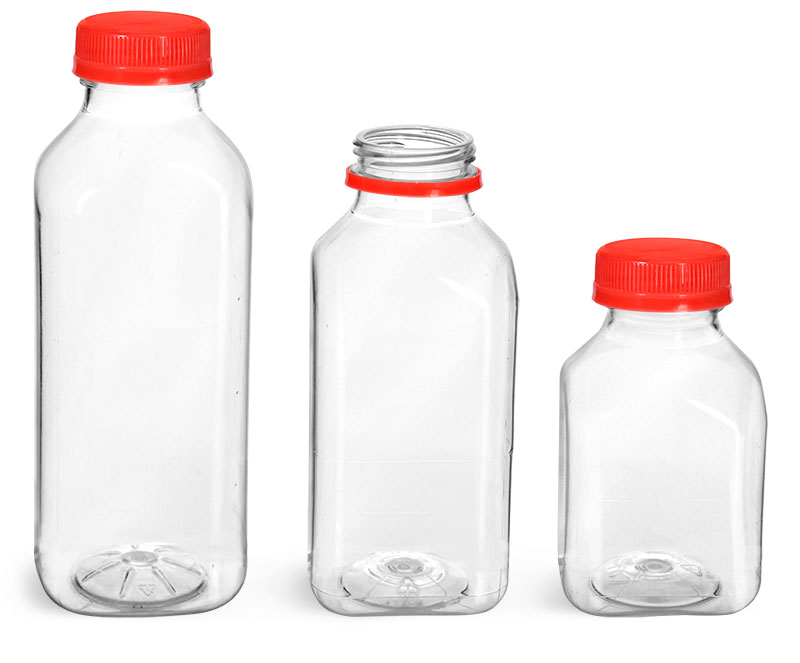 PET Plastic Bottles, Clear Square Beverage Bottles w/ Red Tamper Evident Caps