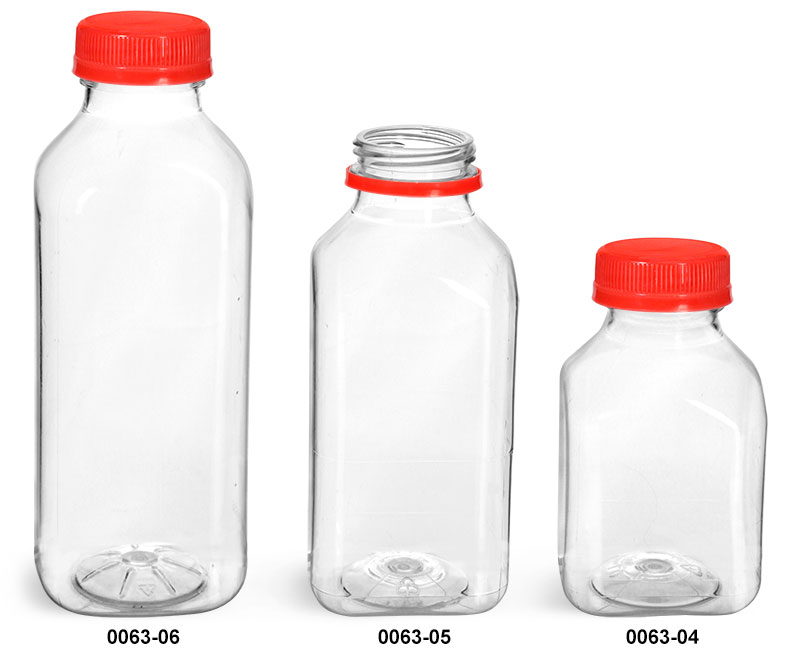 Plastic Bottles, Clear PET Square Beverage Bottles w/ Red Tamper Evident Caps