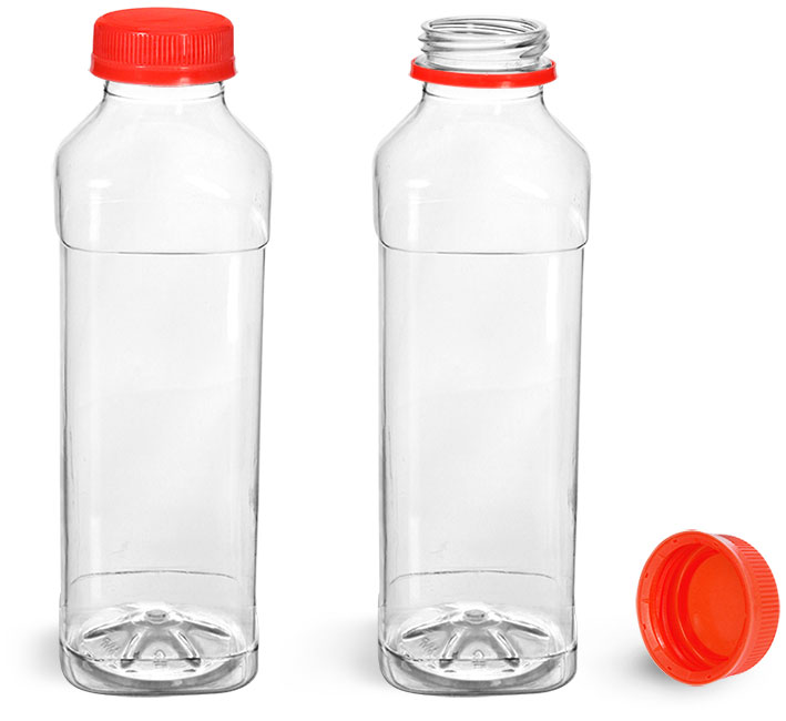 Plastic Bottles, Clear PET Beverage Bottles w/ Red Polypro Tamper Evident Caps