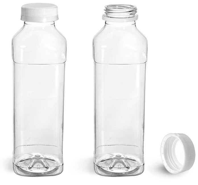 Plastic Bottles, Clear PET Beverage Bottles w/ White Polypro Tamper Evident Caps